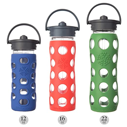 Lifefactory 15014 Botella de agua de 475 ml de vidrio, Sombrero de paja, lila: Amazon.es: Hogar
