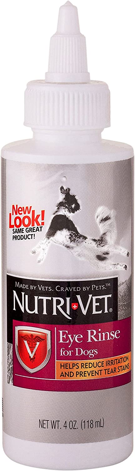 Nutri-Vet Eye Rinse Liquid for Dogs | Gentle Formulat Removes Debris | Helps Reduce Irritation and Prevents Tear Stains | 4oz