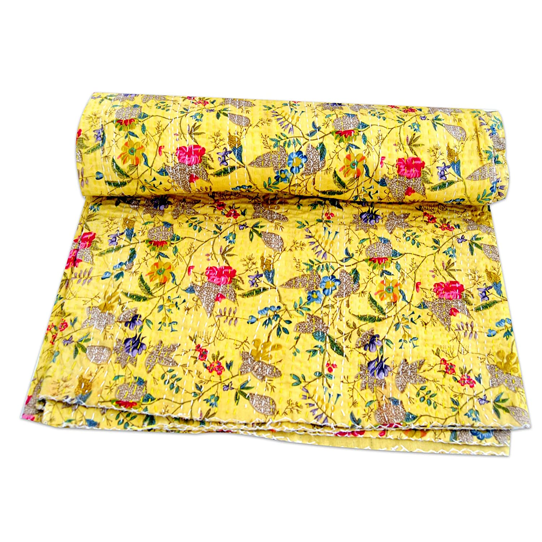 GOPALI CRAFT 黄色パラダイスプリント カンタキルト ボヘミアン 寮 スロー ソファ ブランケット キルト クイーン ベッドスプレッド ベッドカバー B07MSP18B6