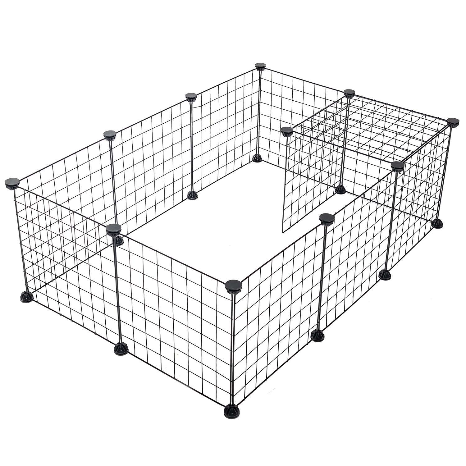Pet Playpen Portable Animal Crate - SUKI&SAMI Wire Grid Cage, Indoor Exercise Fence for Guinea Pig, Rabbits, Small Animal, Black 12 Panels.