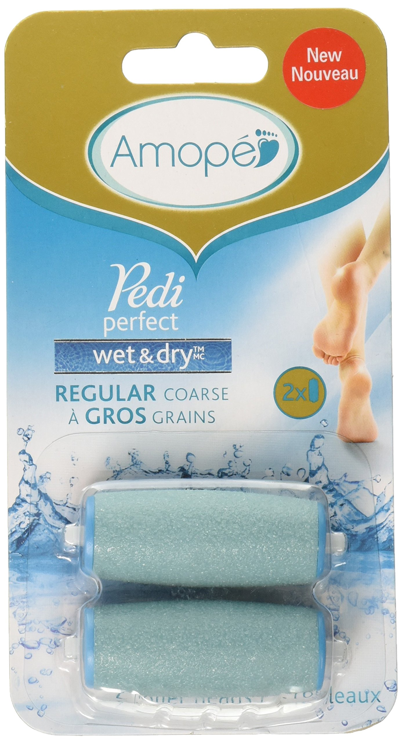 Amope Pedi Perfect Electronic Foot File Wet Dry Regular Coarse Refills, 2 Count