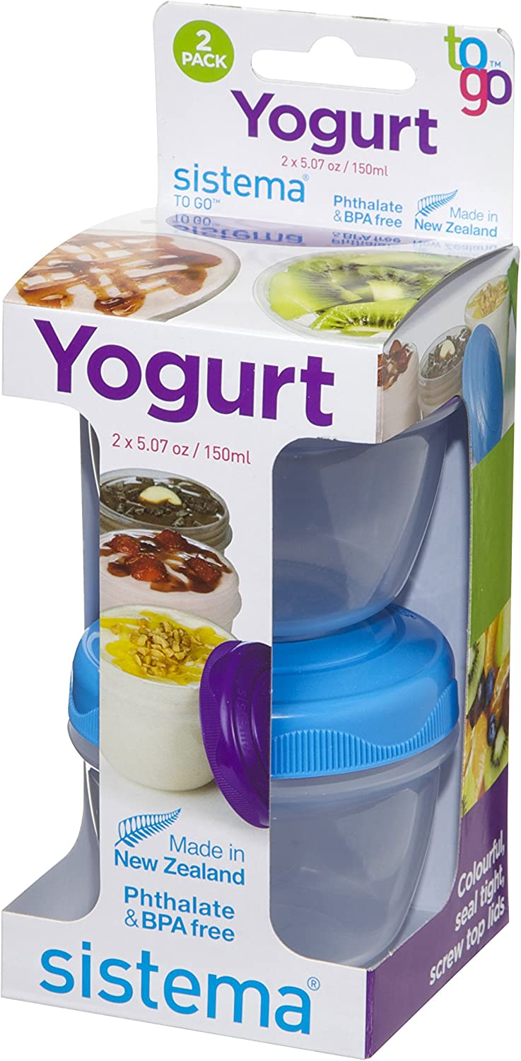 Sistema To Go Collection Yogurt Food Storage Containers, Pack of 2