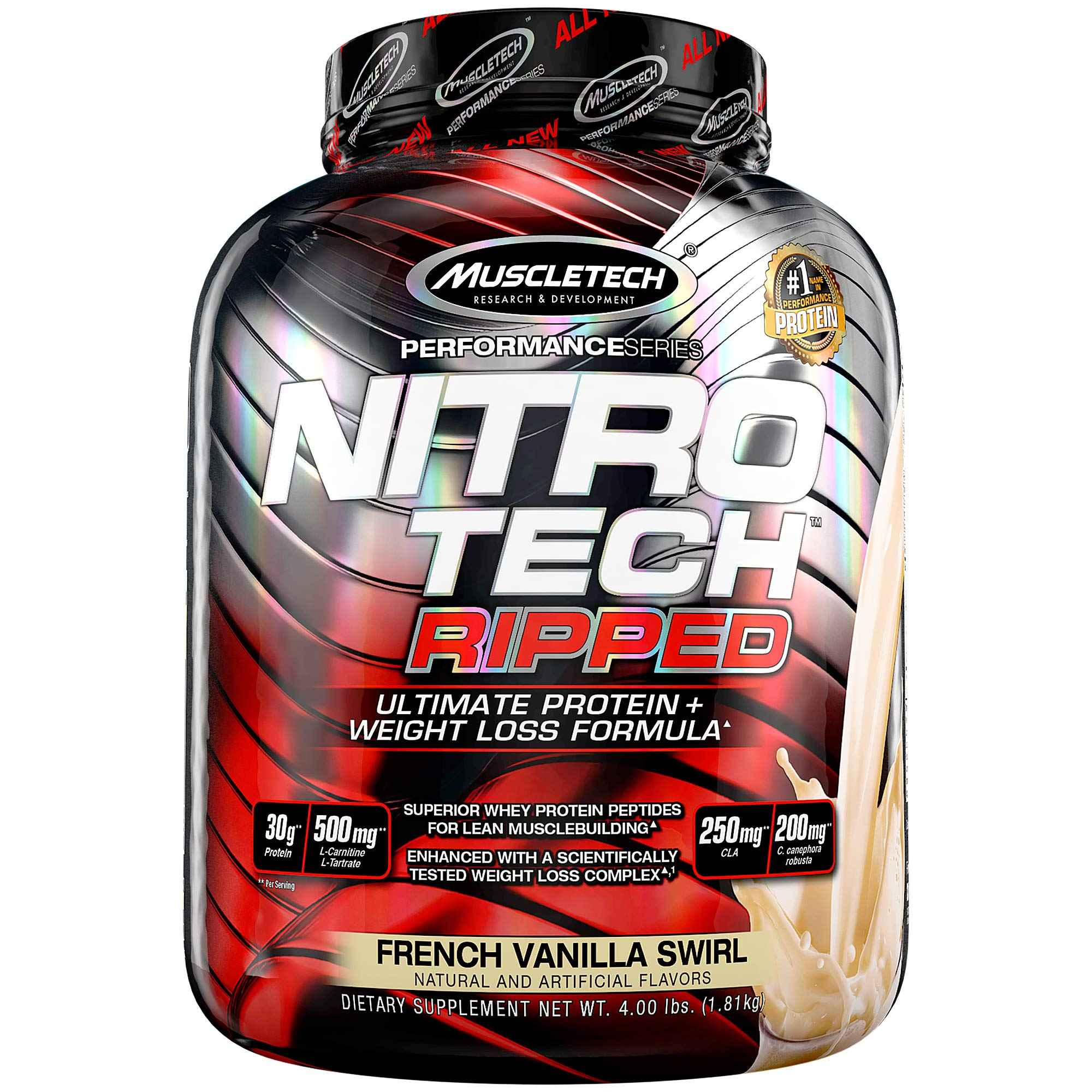 Muscletech Performance Series Nitrotech Ripped (Pre & Post-Workout, 30g Protein, 0 Creatine, 250g CLA, 200mg C. Canephora Robusta) – 4 lbs (1.81 kg) (French Vanilla Swirl)