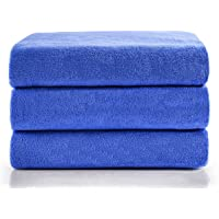 (Blue) - Microfiber Bath Towels, JML Bath Towel 3 Pack(70cm x 140cm), Oversized, Soft, Super Absortbent and Fast Drying…