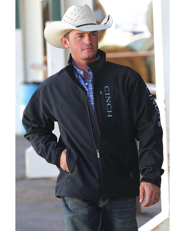 Cinch Men's Bonded Softshell Jacket, Black/Turquoise, Large