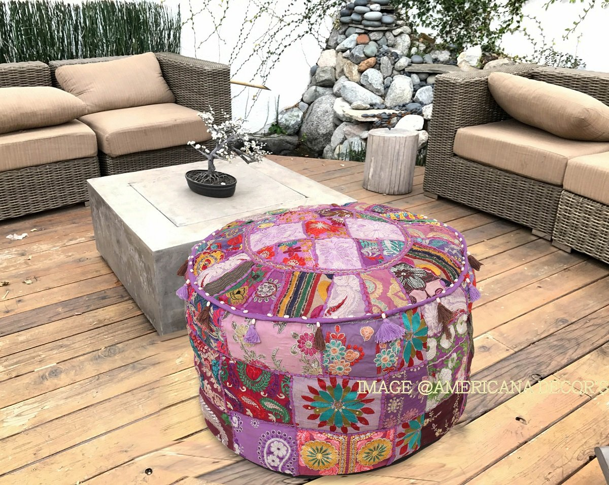 Americana decor's Bohemian Patchwork Ottoman Cover vintage Traditional indian pouf cover ''14x22'' cotton decorative chair ''Filler Not Inculded'' (Purple)