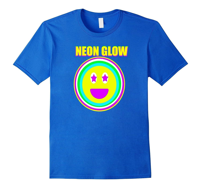 Neon Glow Party Smiley Face Emoji Theme Party Shirt Aqua