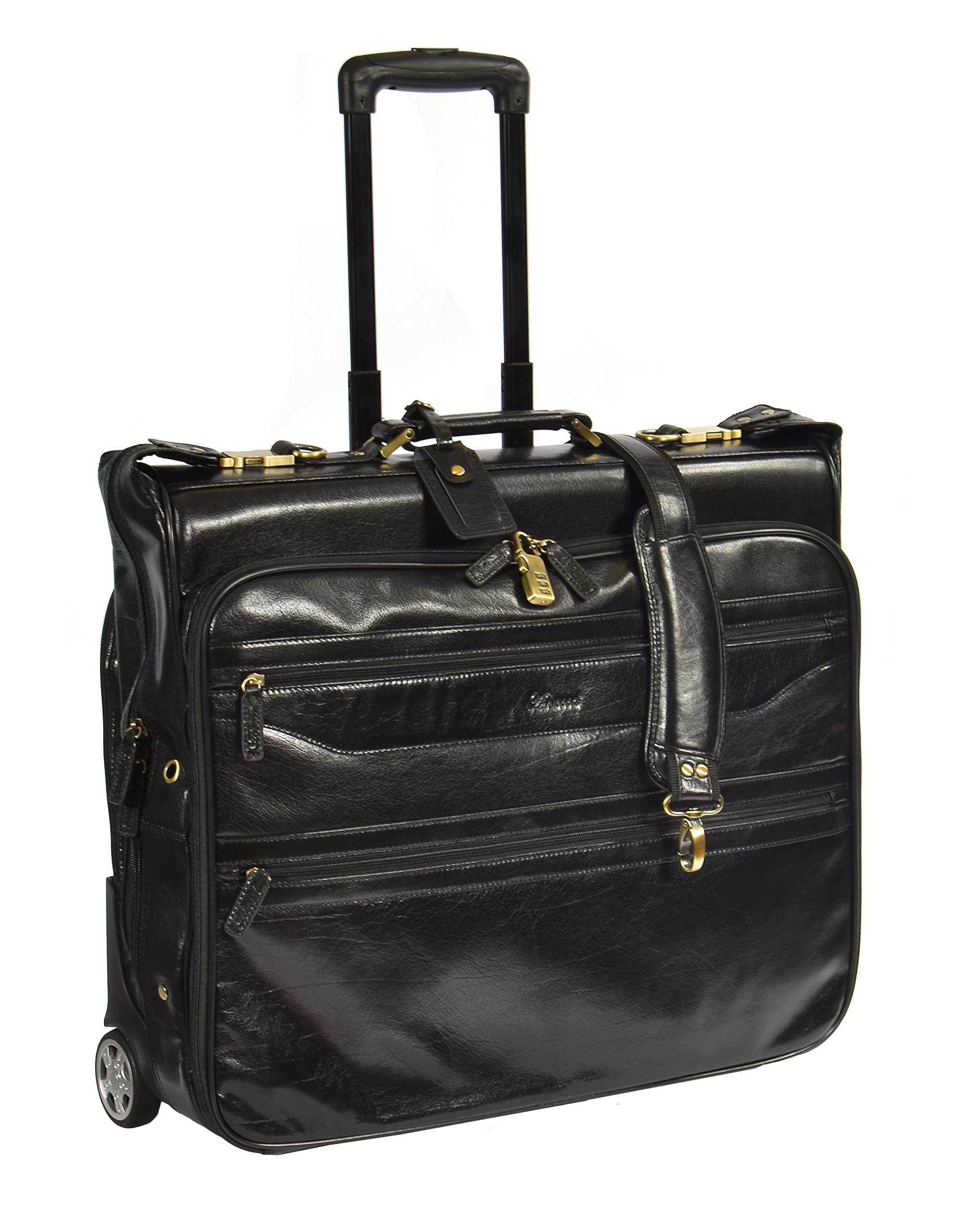 Real Leather Suit Garment Dress Carrier Travel Weekend Bag On Wheels A1236 Black
