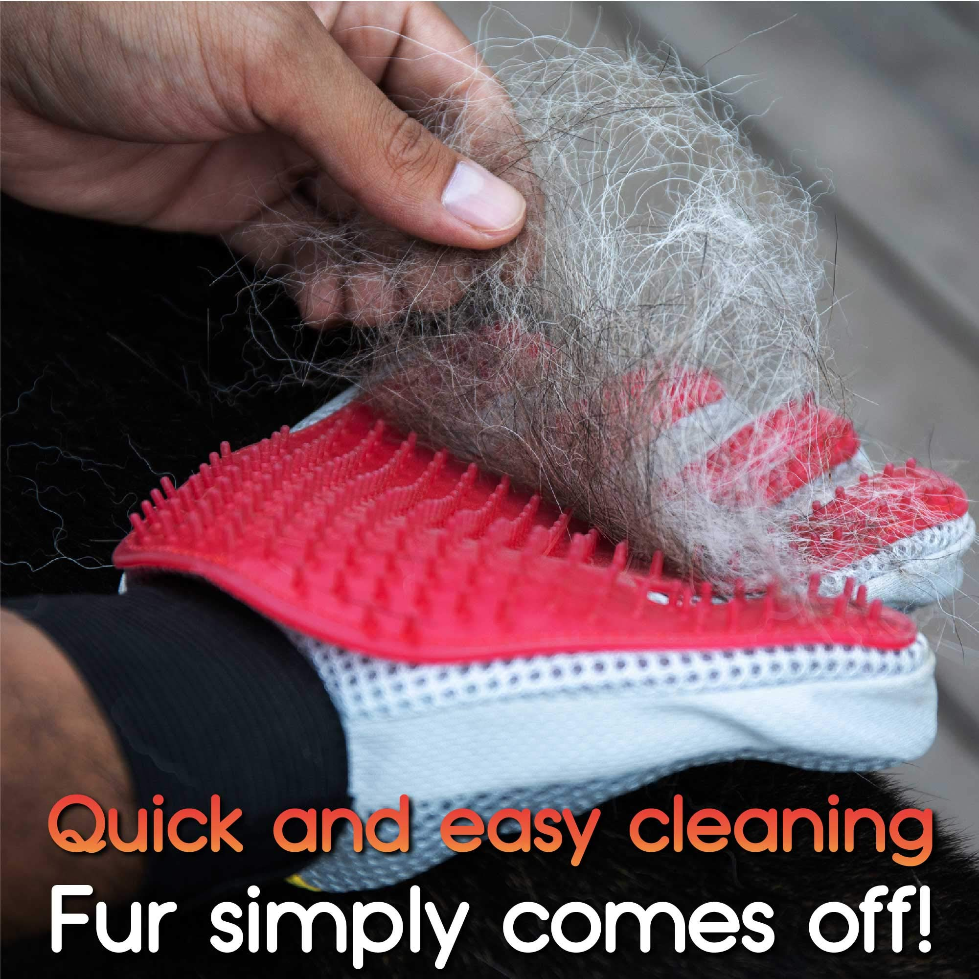 DOMESTIQUE Pet Grooming Glove - for Deshedding Dogs, Cats & Horses. Hair and Fur Remover Brush Mitt for Shedding Animals