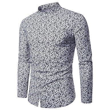 Camisas Florales para Hombre, Cuello de Mandarina, Manga Larga ...