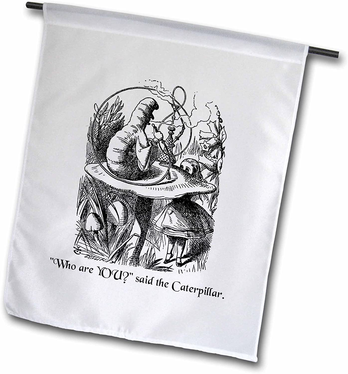 """3dRose fl_193796_1""""Who are You - Smoking Caterpillar Quote from Alice in Wonderland Garden Flag, 12 x 18"""