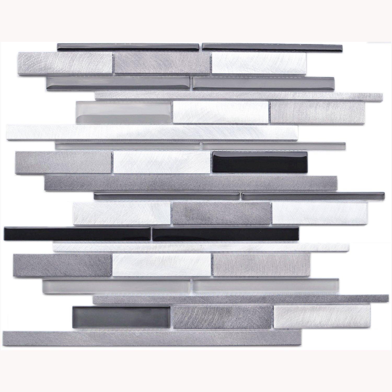 Brick Pattern Glass and Aluminum Blends Mosaic Tile - Kitchen Backsplash / Bath Backsplash / Wall Decor / Fireplace Surround