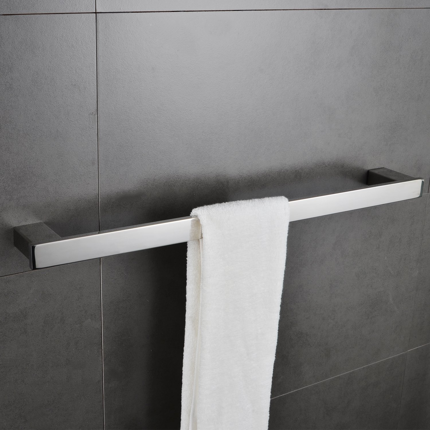 Bathroom Single Towel Bar Rack 24'' Bath Hand Towel Holder Contemporary Square Hotel Towel Bar Hanger Modern Heavy Duty Kitchen Shelf Storage Stainless Steel Wall Mount Polished Chrome MARMOLUX ACC
