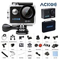 """Acko 4K Wifi Sports Action Cam Camcorder Ultra HD Digital Camera DV 12MP High Speed Image 720 Degrees Wide Angle 2"""" TFT LCD Screen+2.4G Remote Control+2x 1050mAh Batteries+Mounts+Carrying Bag"""