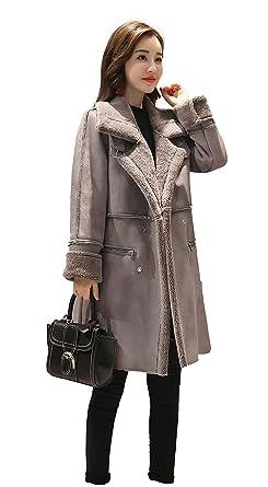 081e590c8bfe80 Shineflow Women's Lapel Faux Fur Fleece Lined Parka Warm Winter Shearling  Coat Leather Jacket (S