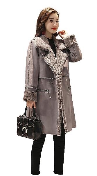 593bfc491 Shineflow Women's Lapel Faux Fur Fleece Lined Parka Warm Winter Shearling  Coat Leather Jacket