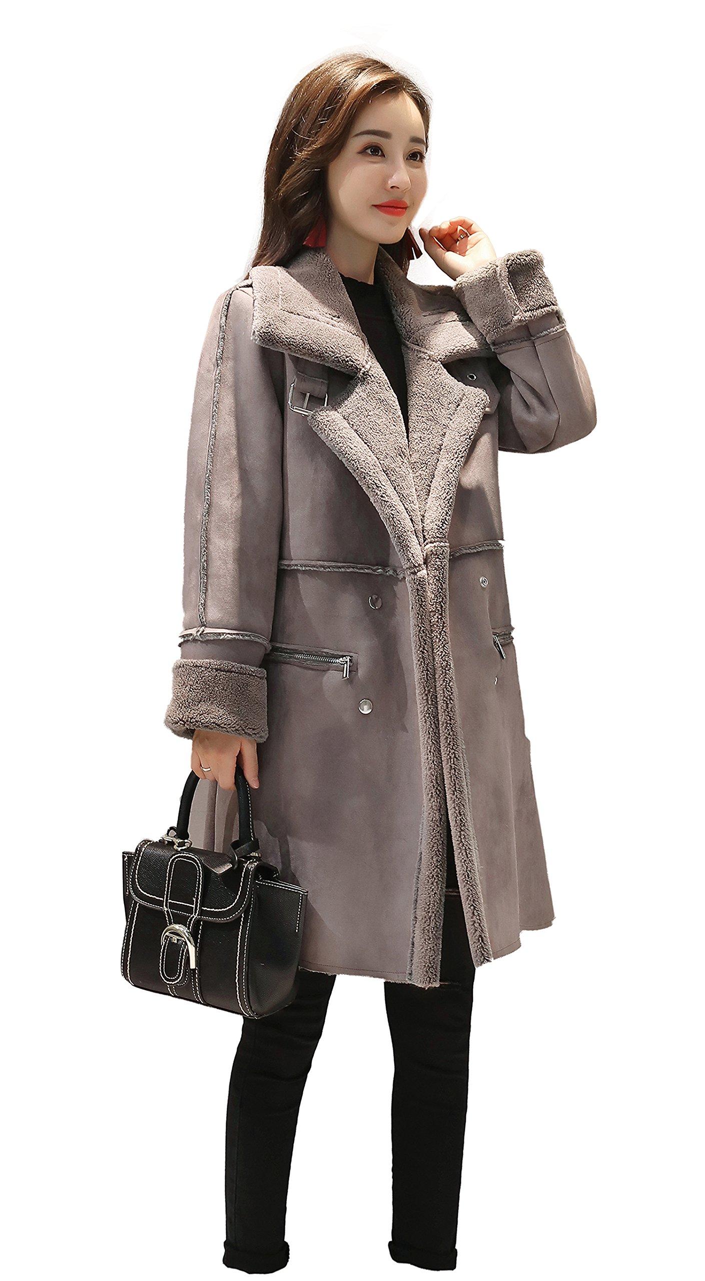 Shineflow Women's Lapel Faux Fur Fleece Lined Parka Warm Winter Shearling Coat Leather Jacket ,Grey,Large