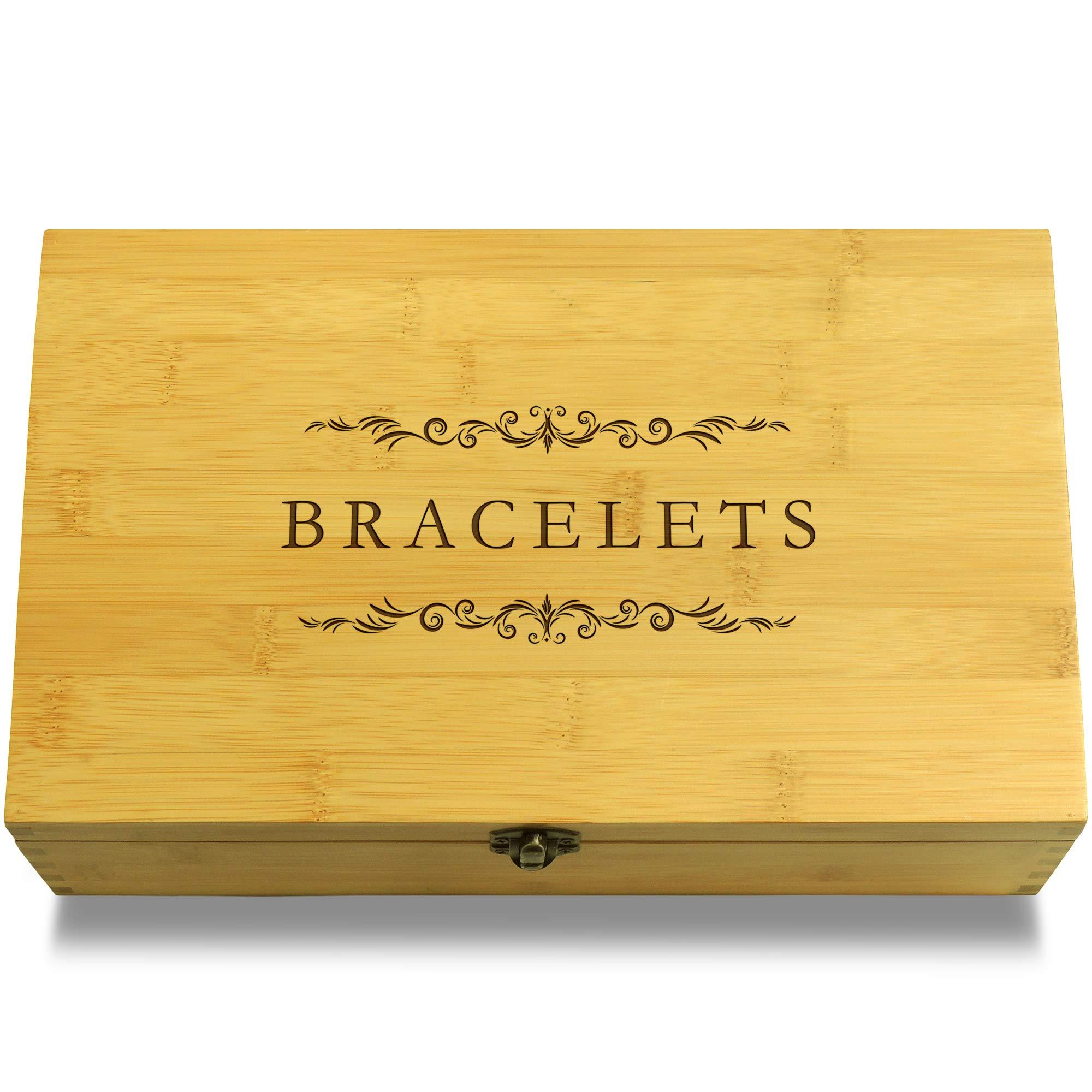 Cookbook People Bracelets Jewelry Multikeep Box - Keepsake Sustainable Bamboo Adjustable Organizer