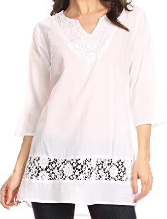 af4c5c85353 Sakkas 5299 - Elisa V-Neck Elbow Sleeve Crochet Lace Tunic - White - M