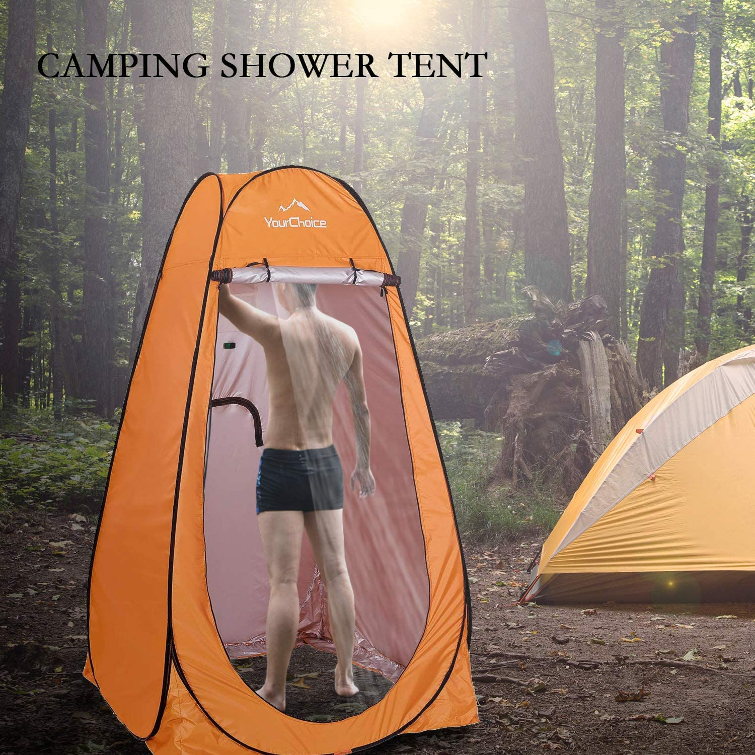 Your Choice Pop Up Camping Shower Tent, Portable Changing Room Camp Shower Toilet Privacy shelter Tents for Outdoor and Indoor, 6.2FT Tall - Color Orange: Sports & Outdoors