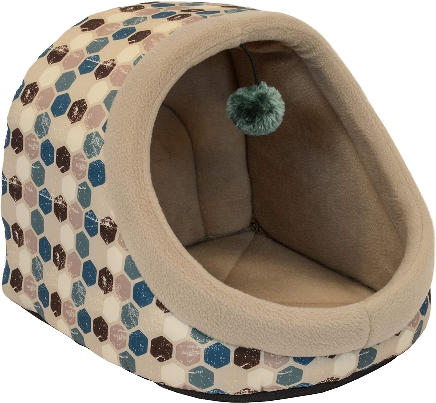 Cozy Pet Hooded Cat Bed with Play Toy