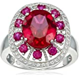 Sterling Silver Created Ruby and Created White Sapphire Ring, Size 7