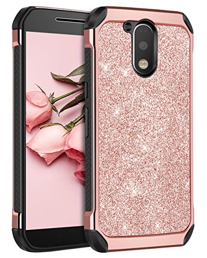 brand new 92f44 f32e6 Moto G4 Case, Moto G4 Plus Case, BENTOBEN 2 in 1 Luxury Glitter Bling  Hybrid Hard Cover Laminated with Sparkly Shiny Faux Leather Shockproof  Bumper ...