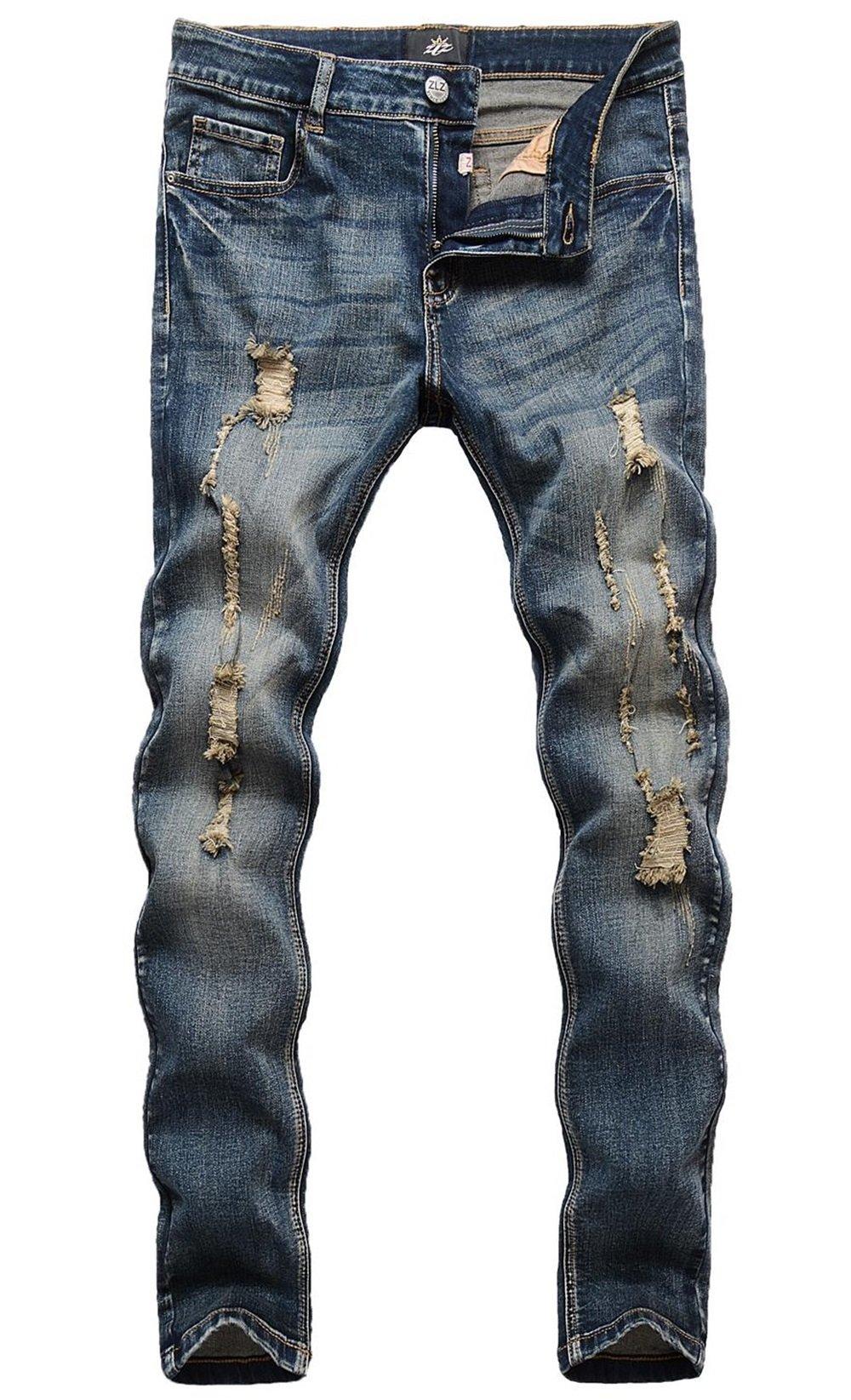 ZLZ Men's Ripped Skinny Distressed Destroyed Slim Fit Stretch Biker Jeans Pants With Holes, Vintage Blue, 32