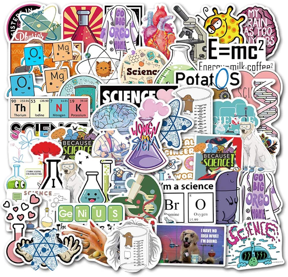 Student Science Laboratory Stickers Physics Chemistry Biology Experiment Science Stickers Pack 50 Pcs Vinyl Decals for Water Bottle Hot Stamping Process Motorcycle Bicycle Skateboard Luggage Decal