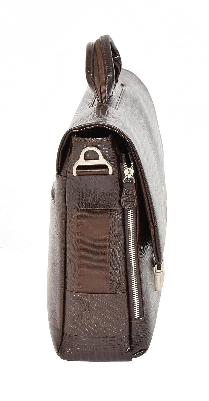 Real Leather Snake Print Briefcase Satchel Cross Body Shoulder Bag Riley Brown