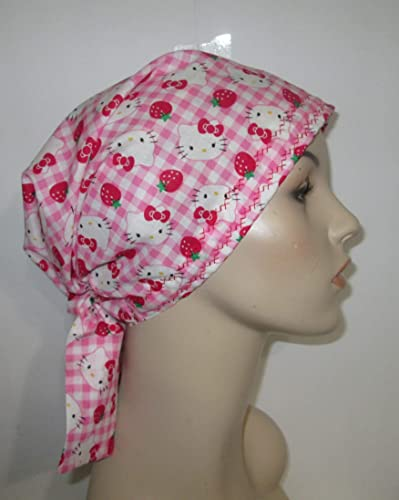 cb28f0b577c8b Amazon.com  Scrub Cap Chemo Hat Hello Kitty Strawberry  Handmade
