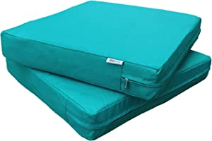 """QQbed 2 Pack Outdoor Patio Deep Seat Memory Foam (Seat and Back) Cushion Set with Waterproof Internal Cover - Size 24""""X22""""X4"""", Peacock Blue"""