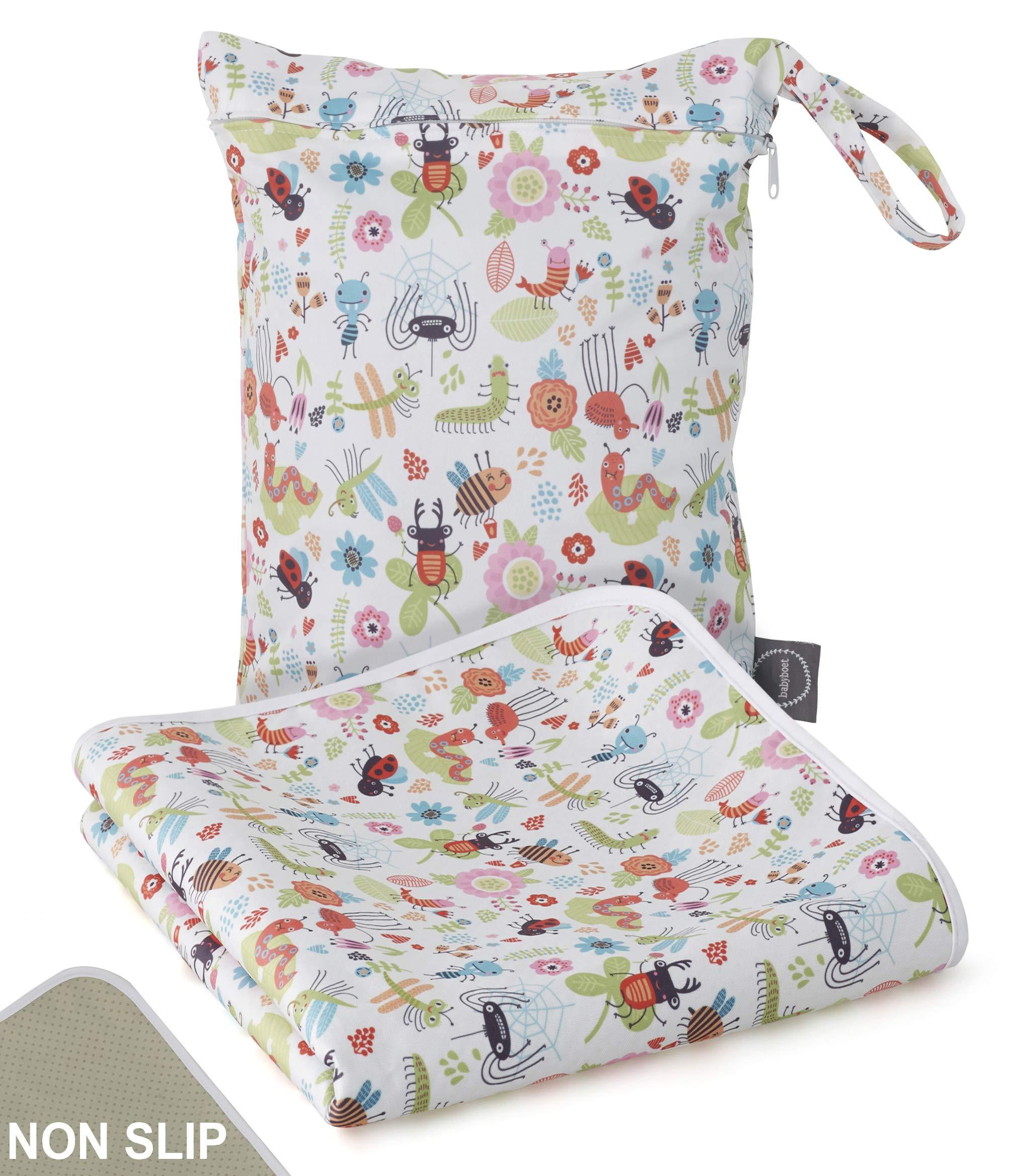 Splat Mat for Baby - Washable Waterproof Non-Slip High Chairs Floor Mat Multi-Purpose Playmat for Arts, Crafts, Feeding Plus Waterproof Wet Bag 51'' X 51'' (Beetles) by BABYBOET