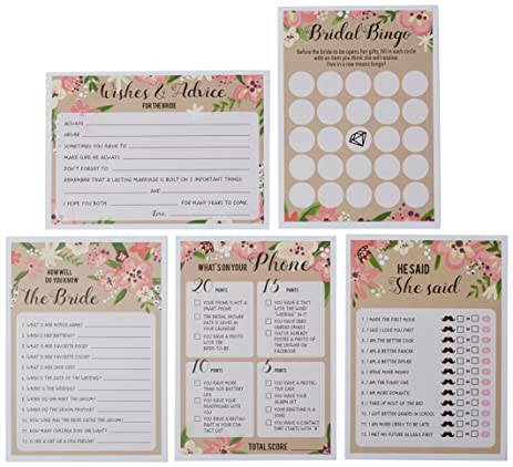 Amazon set of 5 pink vintage floral flower themed bridal set of 5 pink vintage floral flower themed bridal shower and wedding anniversary game card packs stopboris Choice Image
