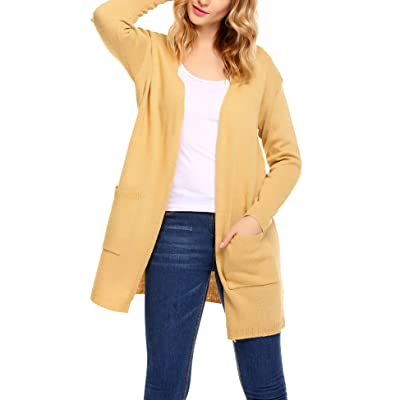 Elesol Women Knitted Open Front Long Sleeve Sweater Cardigan with Pockets