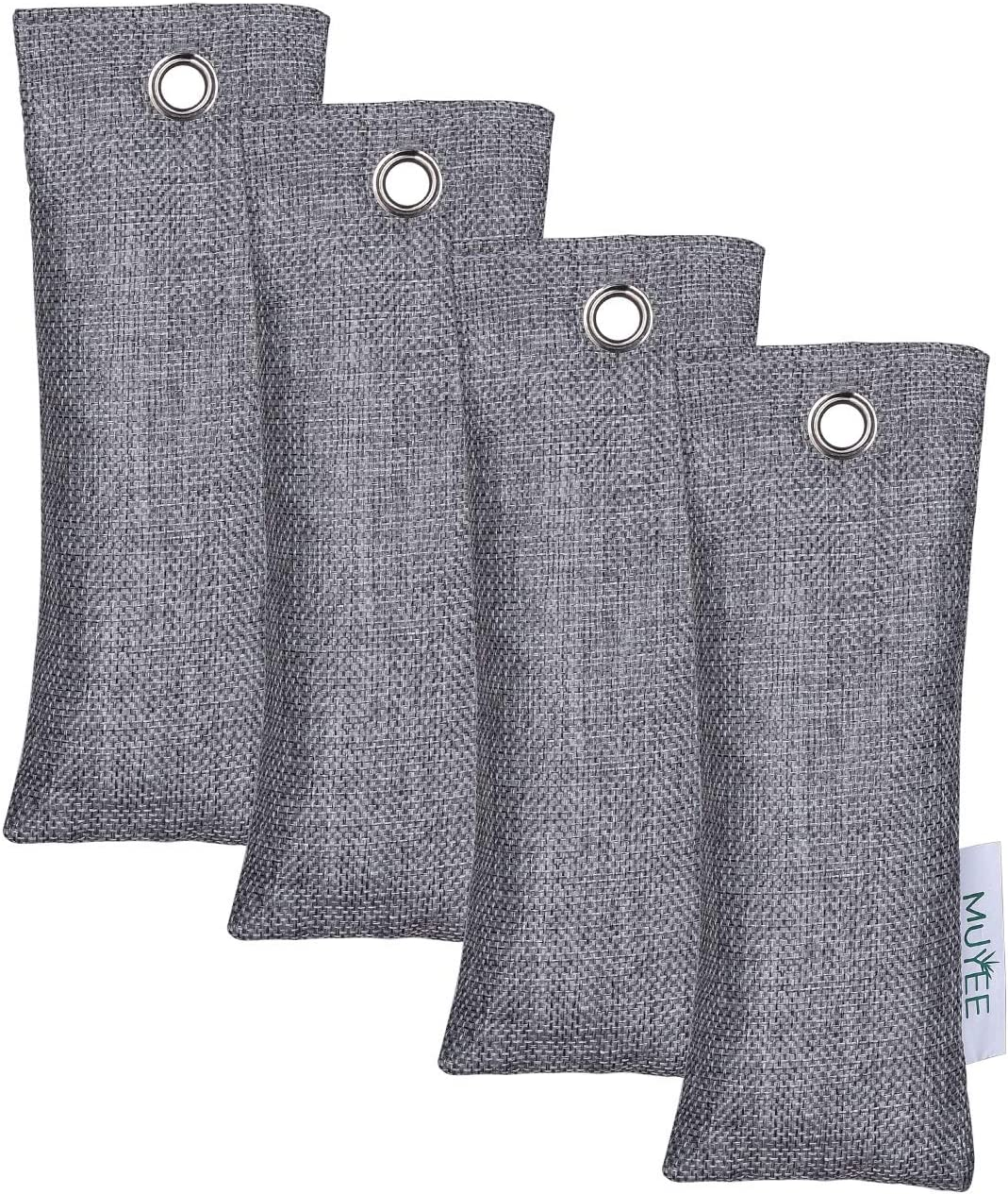 Muyee Bamboo Charcoal Bags 4 Pack, Freshen Odor Absorber Bags, Breathe Green Charcoal Bags for Home, Car, Closet (4 x 75g)