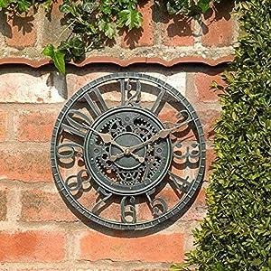 Outdoor Garden Clock Weatherproof, 12 inch Blue Slate Effect Open Face Wall Clock, Hollow Gear Vintage Garden Clocks for Outside Large, Battery Operated Retro Resin Decorative Quartz Clock