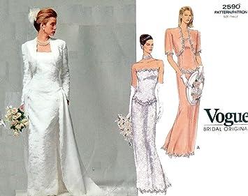 Vogue 2590 novia boda original de costura para vestidos patrón poo Autor 1991 tamaño 12 14