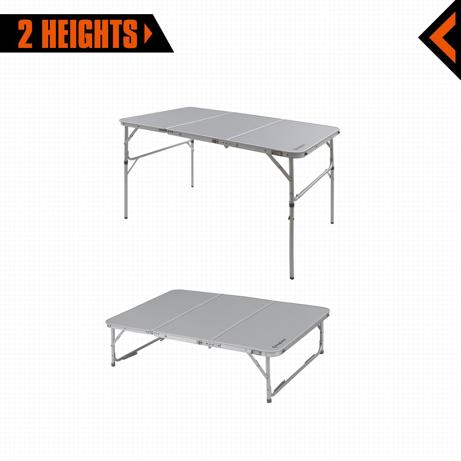 Call out Length Vacation Outdoor KingCamp Aluminum Alloy 3-Fold Camp Table with Carry Bag Adjustable Height Light Weight Collapsible Foldable Portable Sturdy Compact Storage for Camping Picnic