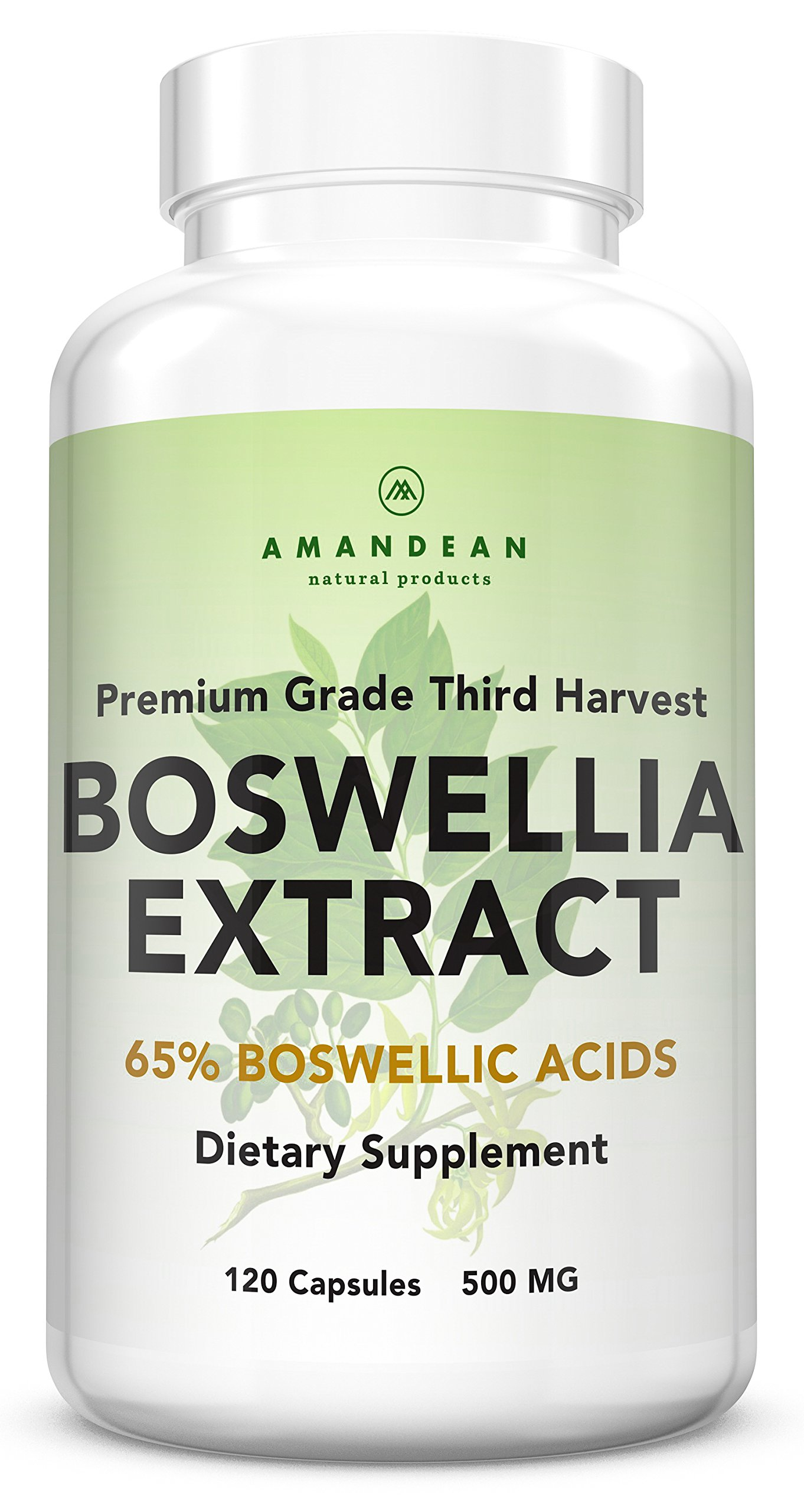 Premium Boswellia Serrata Extract   500mg 120 Veggie Capsules   Standardized 65% Boswellic Acids with AKBA   Natural Ayurvedic Supplement (Indian Frankincense) for Inflammation and Joint Pain Relief*
