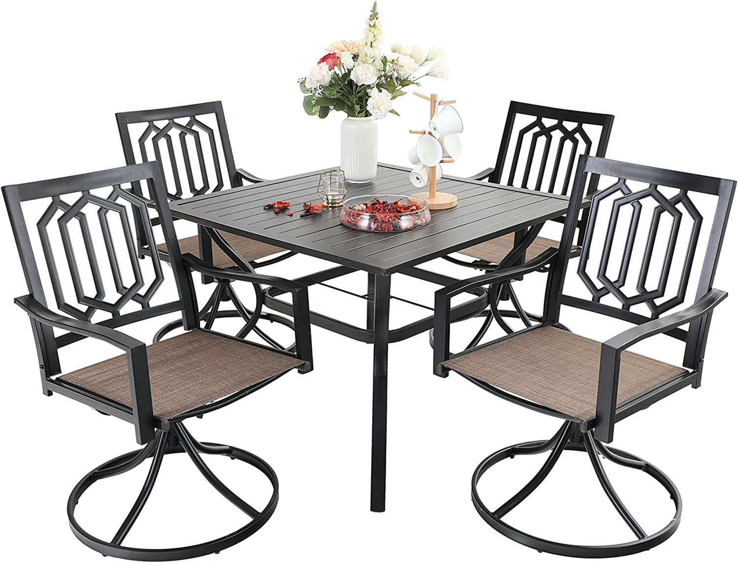 Sophia & William Outdoor 5 Pieces Dining Set with 4 Swivel Metal Chairs of Textilene Seat and 1 Square Table with Umbrella Hole, Modern Patio Furniture for Poolside, Porch, Patio, Backyard