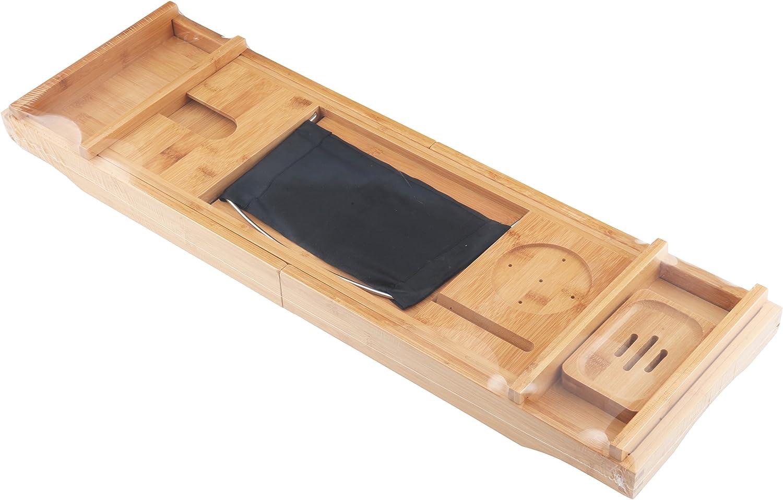 Homiu Bagno bamb/ù Caddy Premium Misura la Maggior Parte Terme con la Candela Piatto Libro Wine Glass Resto Tablet Kindle iPad e Smartphone Supporti Supporto