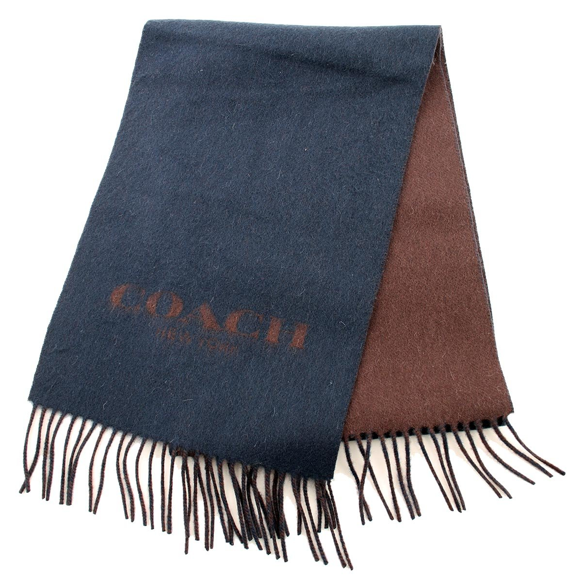 COACH Cashmere Blend Bi-Color Logo Scarf in Navy