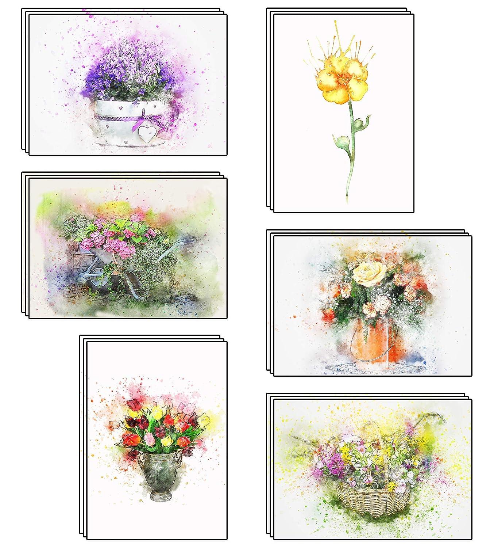 48/Blank artistico fiori acquerello biglietti di auguri realizzato in carta riciclata