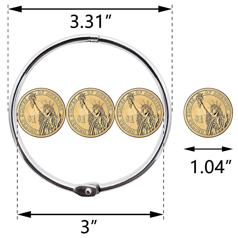 3 inch 15 packs loose leaf binder rings nickel plated steel binder