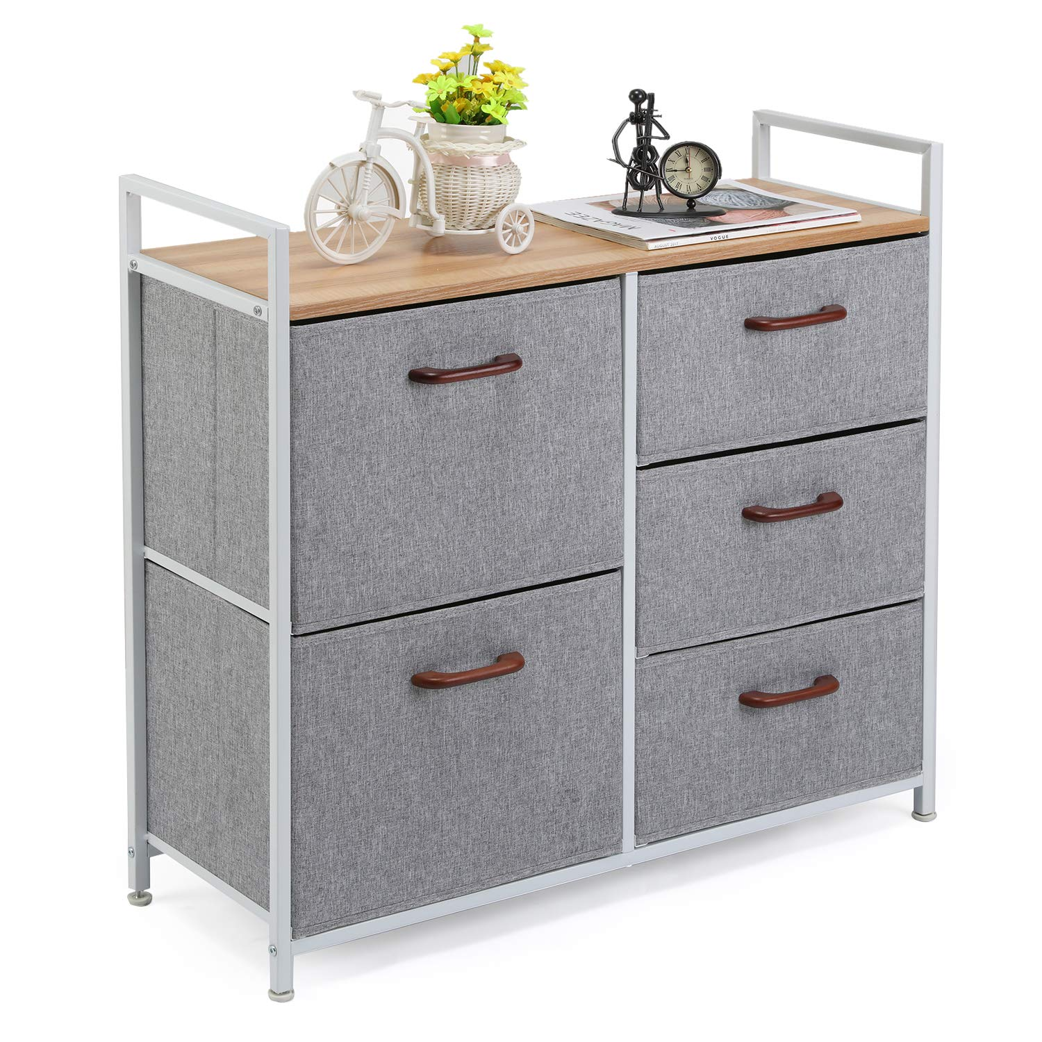 MaidMAX Storage Cube Dresser Home Dresser Storage Tower Constructed by Painted Steel, Wooden Top and 5 Foldable Cloth Storage Cubes, Gray