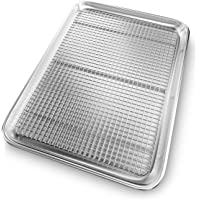 Premium Baking Pan with Cooling Rack. Light, Durable, Nonstick, Easy to Clean Aluminum with Stainless Steel Rack That's Oven Safe. Even Heating For Better Baking Cookies, Meats, Vegetables