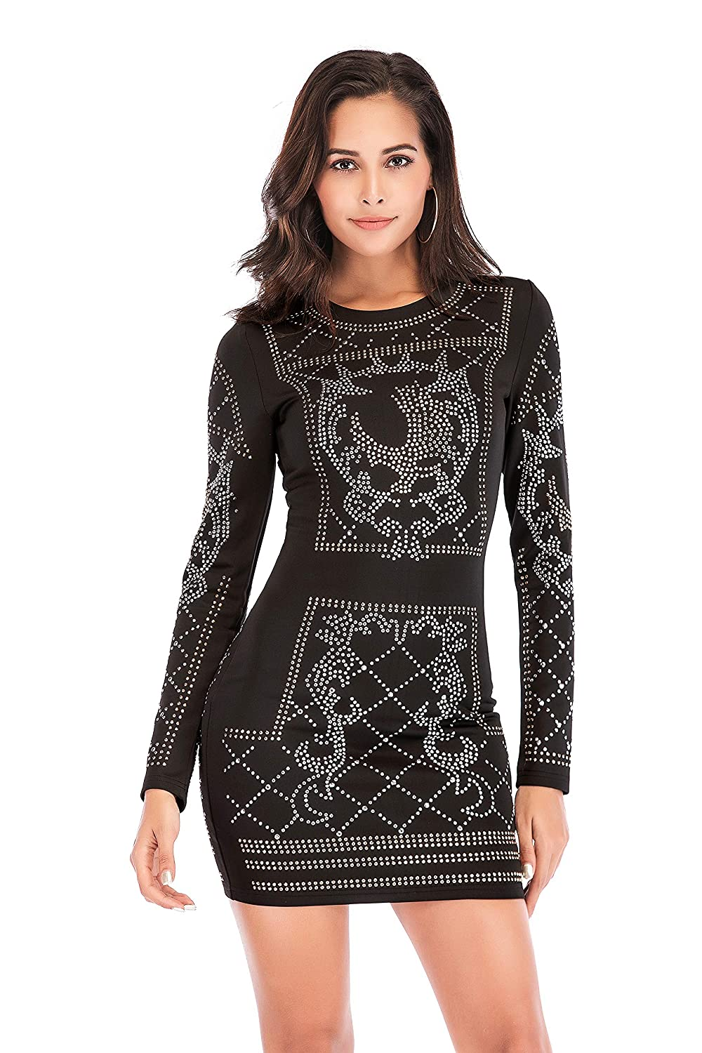f360f5c4 Bodycon Mini Outfits Glitter Tight Club Dress Long Sleeve for Prom Party  Dress