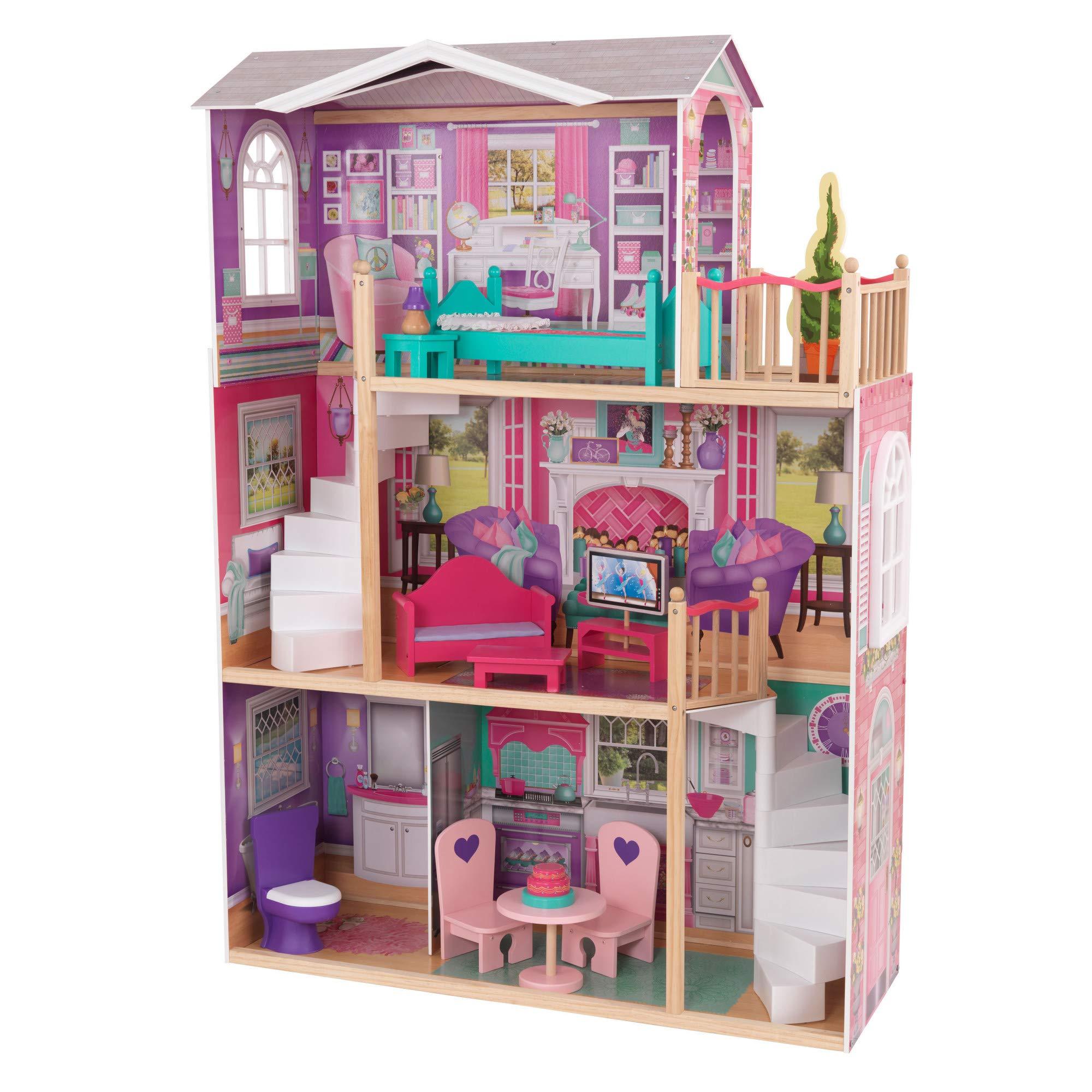 """KidKraft 18"""" Dollhouse Doll Manor, Multicolor"""