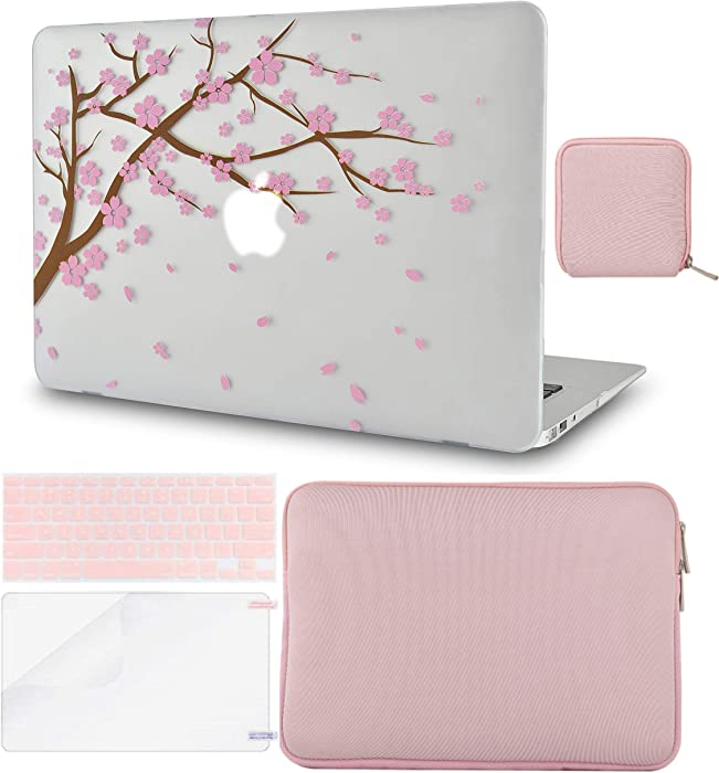 LuvCase 5in1 LaptopCase forMacBookAir 13 Inch A1466 / A1369 (No Touch ID)(2010-2017) HardShell Cover, Slim Sleeve, Pouch, Keyboard Cover & Screen Protector (Cartoon Cherry Blossom)